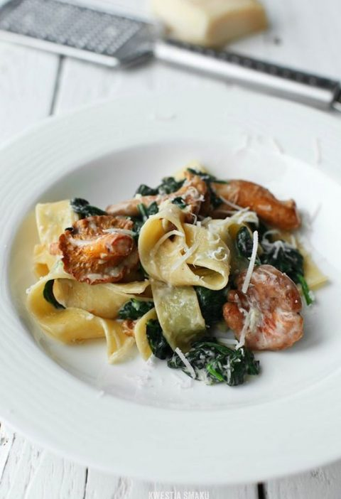 1791 - PAPPARDELLE WITH CHANTERELLE MUSHROOMS & SPINACH RECIPE (...etc)
