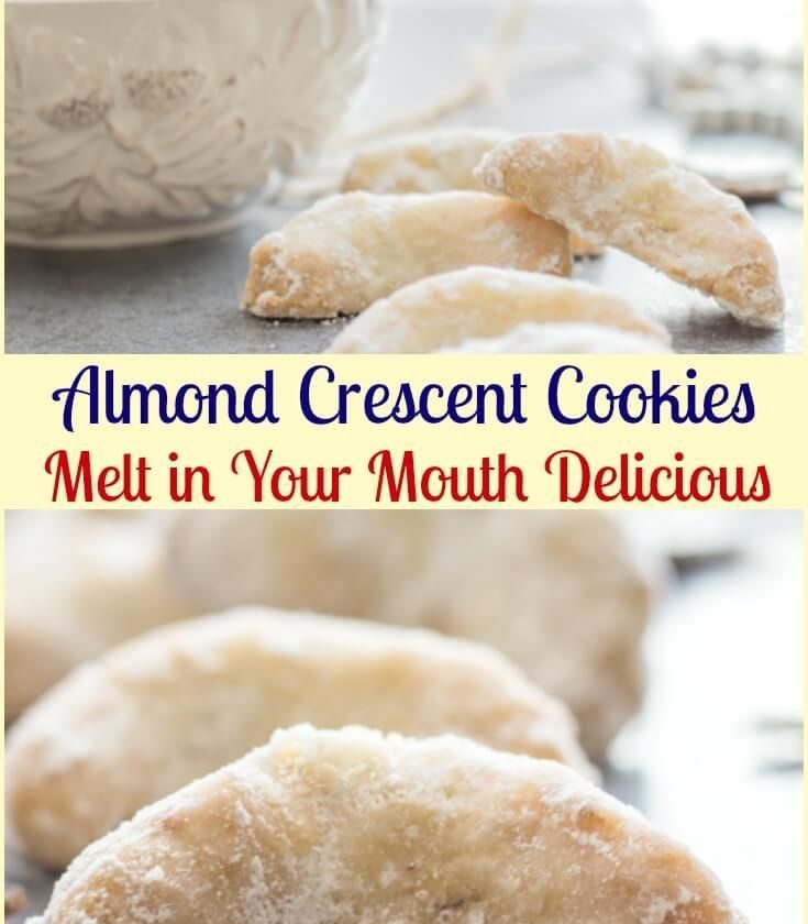 Almond Crescent Cookies, almond, pecan or walnut these melt in your mouth Christ...