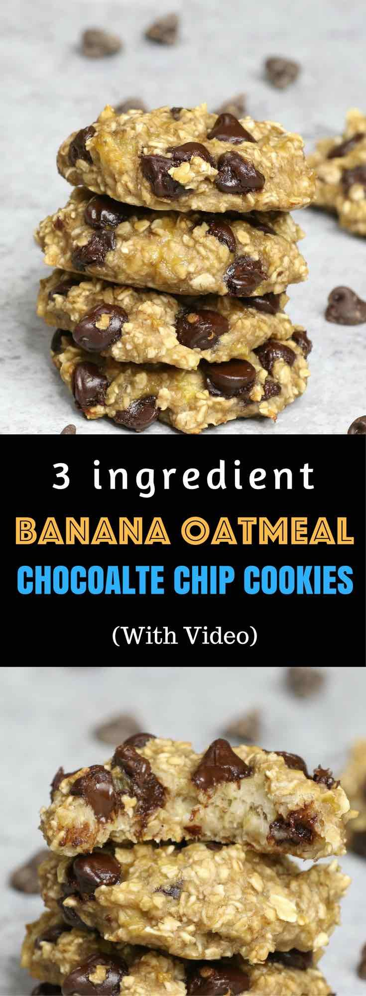 : Banana Oatmeal Chocolate Chip Cookies – Soft, chewy, and super easy cookies....