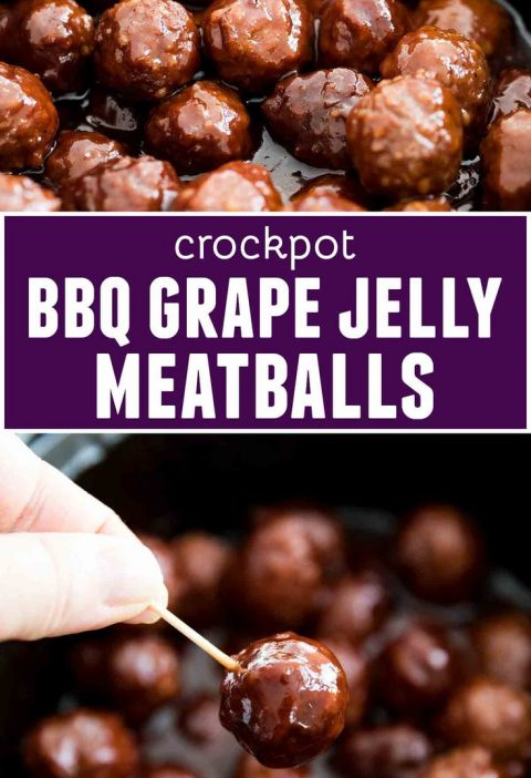 Both sweet and savory, these Crockpot BBQ Grape Jelly Meatballs are always a cro...