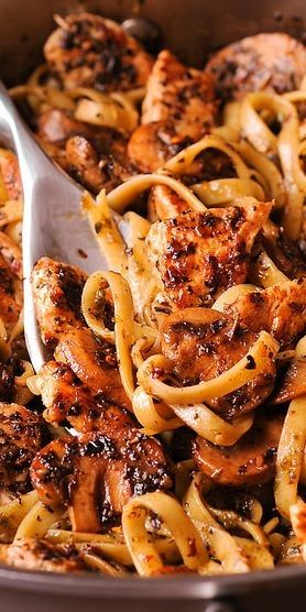 Chicken Pasta in Simple Pesto White Wine Sauce is so delicious with flavors of basil, thyme and oregano as well as pungency from garlic, you simply can't go wrong here