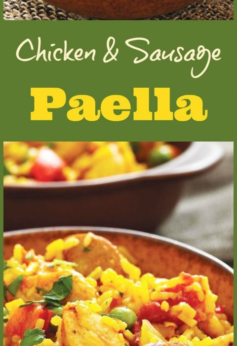 Chicken and Sausage Paella recipe. Click to get this one pot, gluten free, chick...