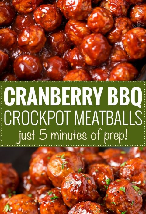 Cranberry BBQ Crockpot Meatballs   The perfect appetizer for a party or game day...