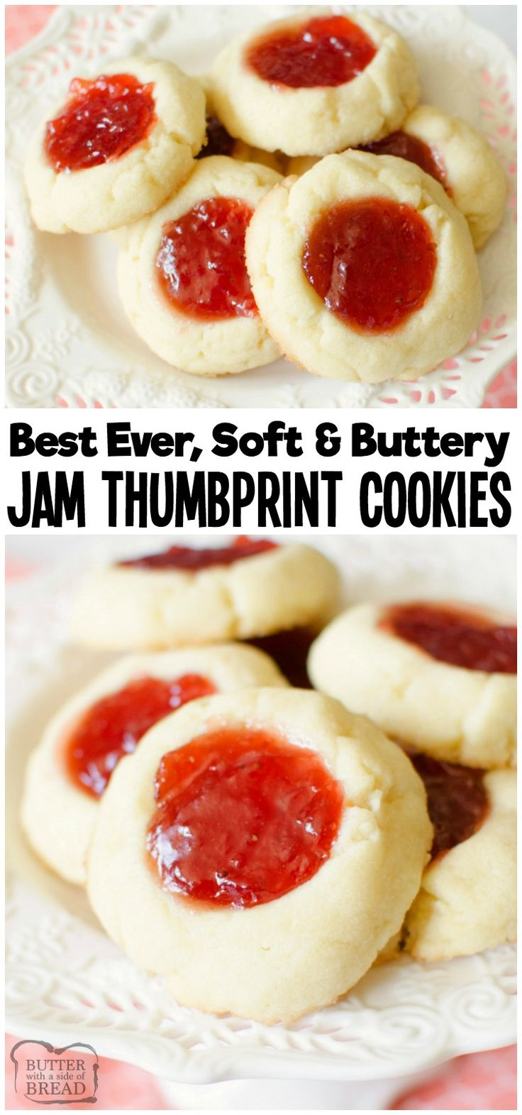 Easy recipe for Soft Jam Thumbprint Cookies perfect for the holidays! Buttery co...