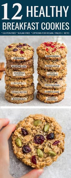 Healthy Breakfast Cookies – 12 Ways – easy to customize & make ahead. Perfect for back to school & busy on-the-go mornings. Best of all, these recipes are all gluten free, refined sugar free with nut free, paleo / low carb / keto options. Almond Joy (Chocolate & Coconut), Apple Cinnamon, Apricot Pistachio, Banana Nut, Blueberry Almond, Carrot Cake, Keto (Almond and Coconut), Key Lime, Strawberry, Peanut Butter with Chocolate Chips. Pumpkin & Tahini Maple (Nut Free) #cookies #glutenfree #keto