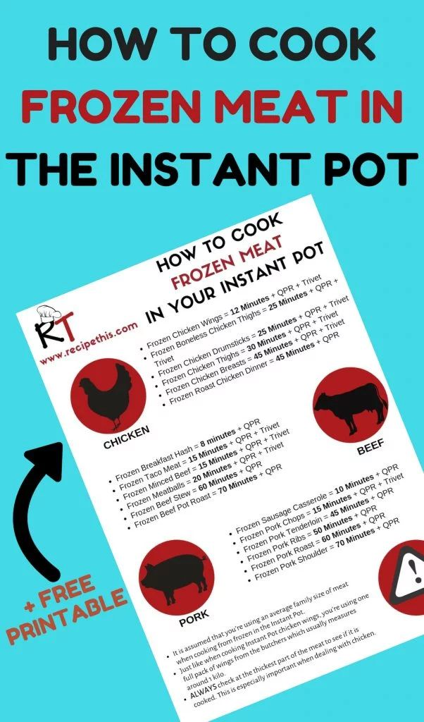 How To Cook Frozen Meat In The Instant Pot Pressure Cooker+ Free Printable. #ins...