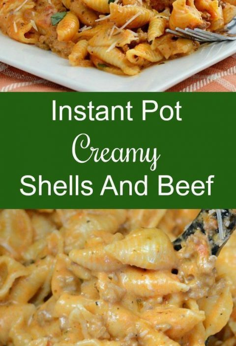 Instant Pot Creamy Shells and Beef - An easy dinner recipe made with pasta with ...