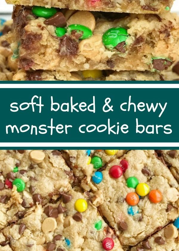 Monster Cookie Bars   After School Treat   Dessert   Monster Cookie Recipes   Mo...