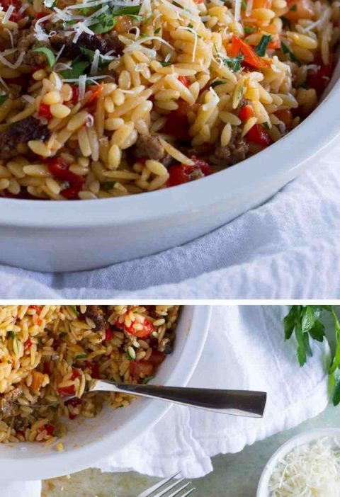 Orzo with Italian Sausage and Peppers
