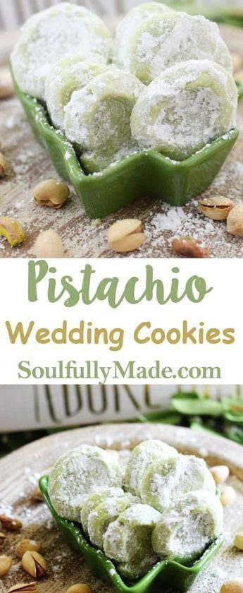 Pistachio Wedding Cookies are soft, buttery cookies that are a little sweet, a l...