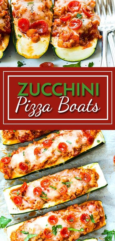 Pizza Zucchini Boats with Pepperoni and Sausage