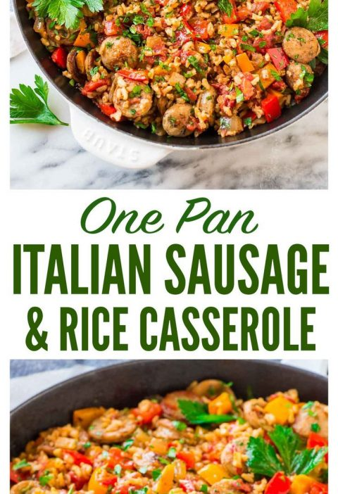 Quick and easy Italian Sausage and Rice Casserole. Cooks in ONE PAN! Smoky chick...