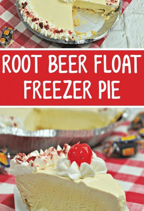 Rootbeer Float Freezer Pie recipe. #recipes #food #rootbeer #yummy #foodblogger