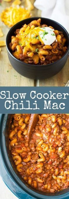 Slow Cooker Chili Mac is an easy comforting dish made right in your crock pot!! ...
