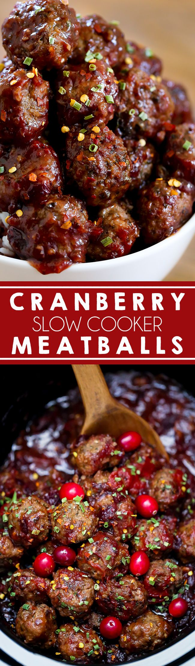 Slow Cooker Cranberry Meatballs - Homemade Italian meatballs slow cooked in a sw...