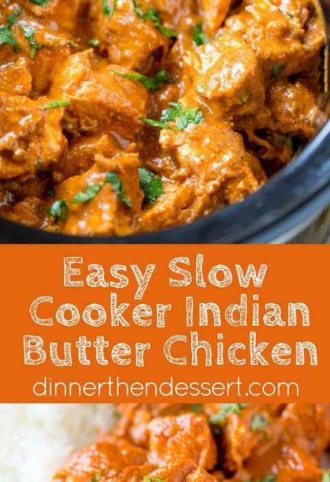 Slow Cooker Indian Butter Chicken made with spices you already have in your cabi...