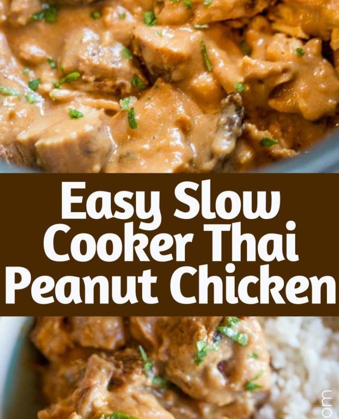 Slow Cooker Thai Peanut Chicken is an easy weeknight meal made with coconut milk...
