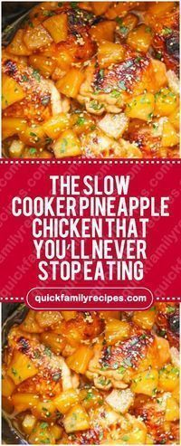 The Slow Cooker Pineapple Chicken. For recipe go to www.quickfamilyre... ♛BOUT...