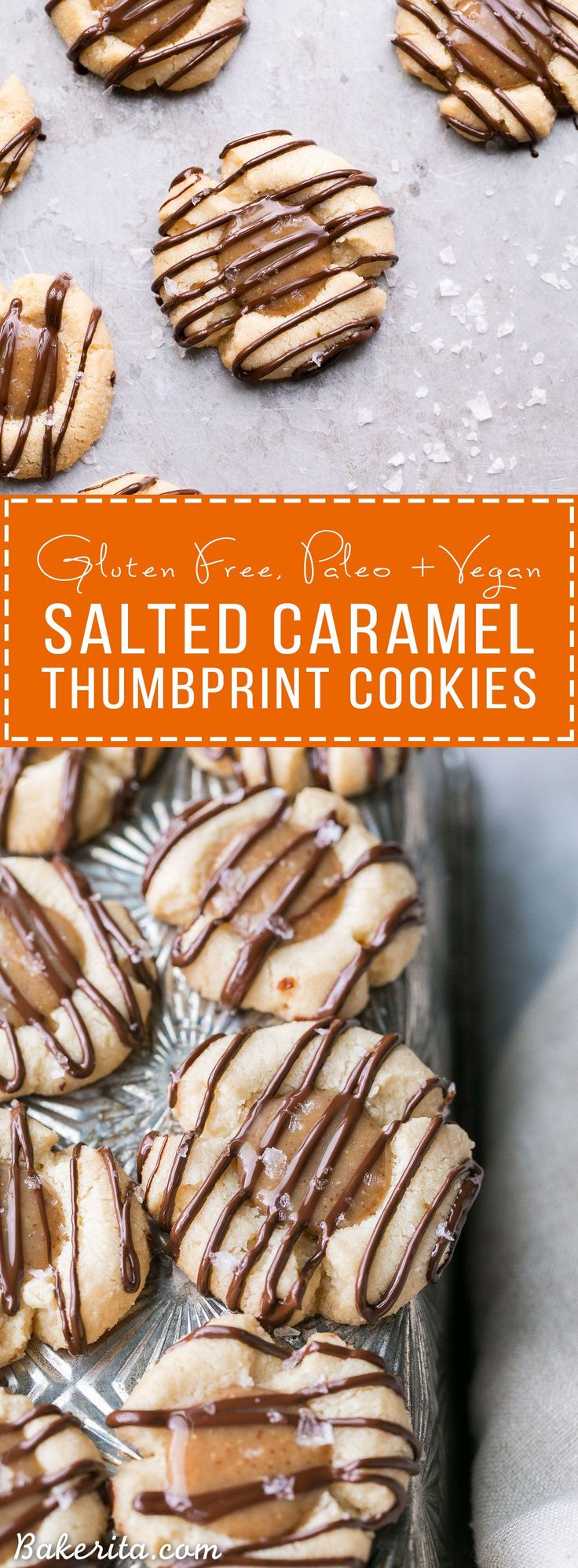 These Salted Caramel Thumbprint Cookies are super easy to make with only 6 ingre...