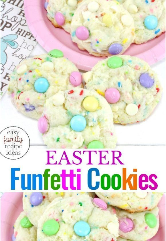 These Spring Funfetti Cake Cookies for Easter are soft and delicious, Funfetti c...