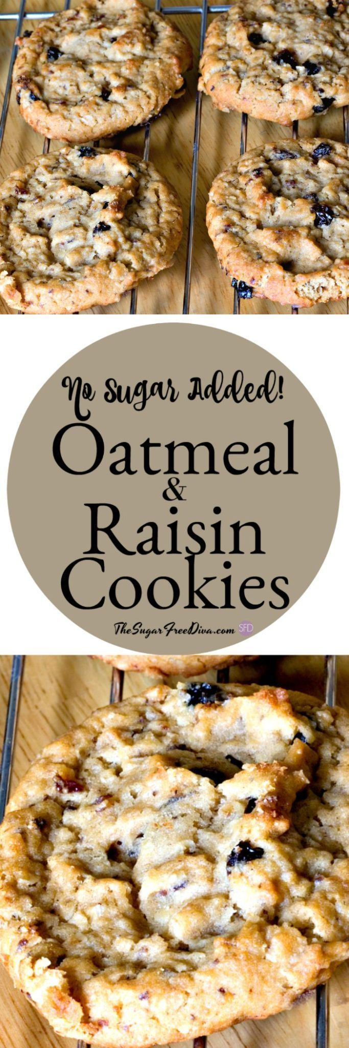 These are so yummy! No sugar added oatmeal and raisin cookies #sugarfree #recipe...