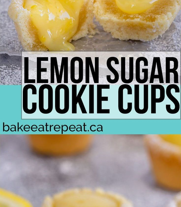These lemon sugar cookie cups are like mini lemon pies with a sugar cookie crust...
