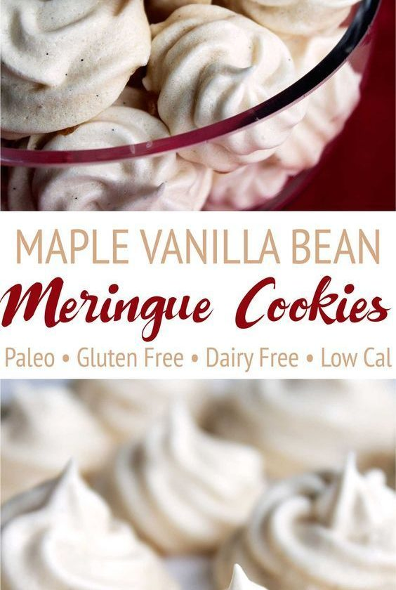 These maple vanilla bean meringue cookies are completely paleo! Maple syrup repl...