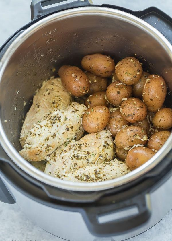 This Pesto Parmesan Instant Pot Chicken Breast and Potatoes is a healthy dinner ...
