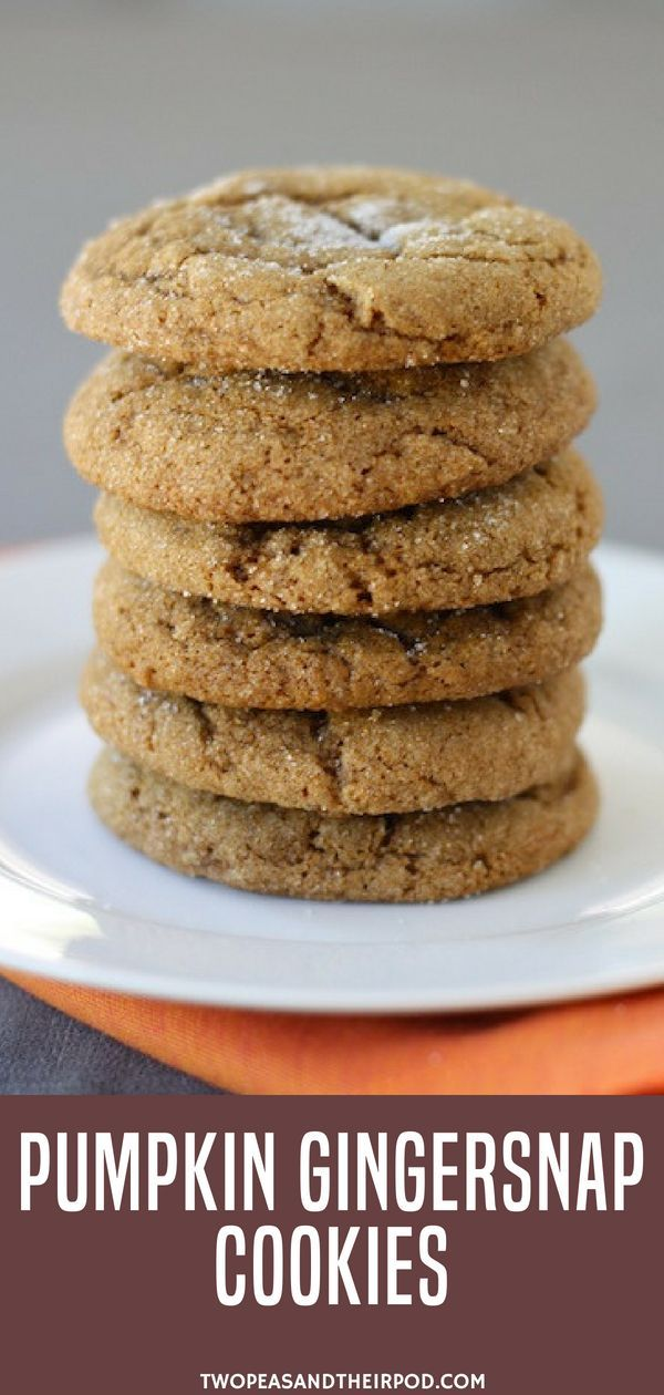 Time for some pumpkin cookie desserts! Make these Pumpkin Gingersnap Cookies.  P...