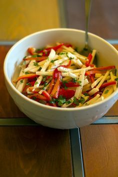 Try this delicious Jicama and Red Pepper Salad Medifast recipe. This is a lean a...