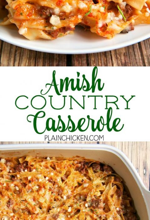 Amish Country Casserole - comfort food at its best!! Hamburger, Tomato soup, cre...