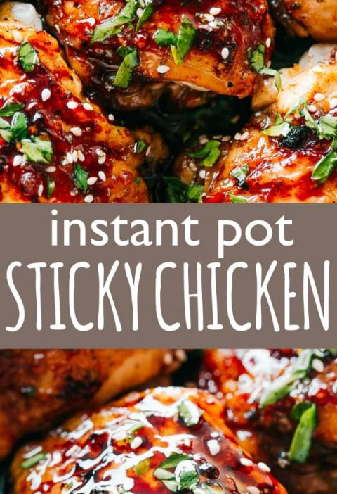 Instant Pot Sticky Chicken Thighs - Tender, deliciously juicy, fall-off-the-bo...