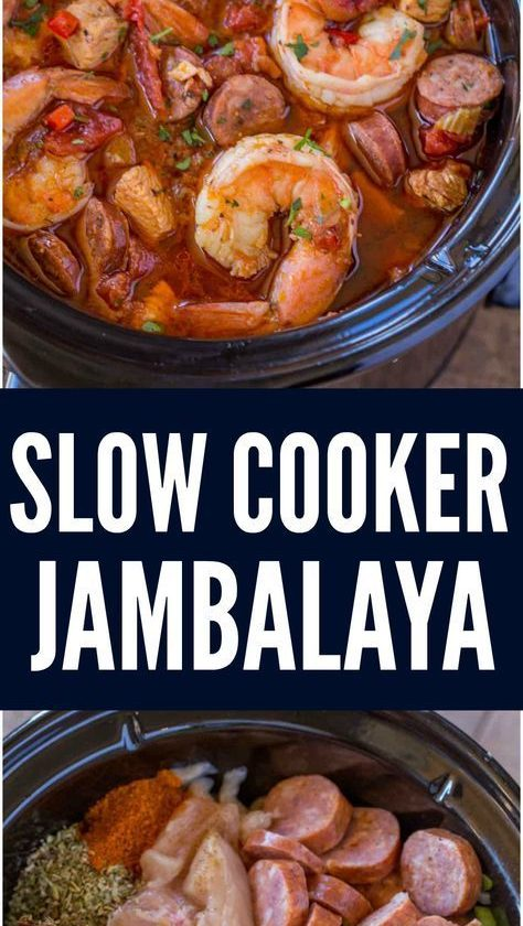 Slow Cooker Jambalaya with andouille sausage, chicken and shrimp cooked low and ...