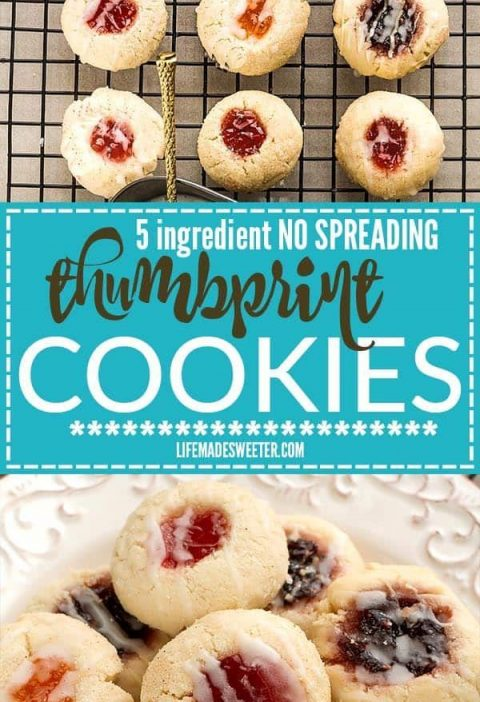 5 Ingredient Shortbread Thumbprint Cookies - my favorite dough for making these ...