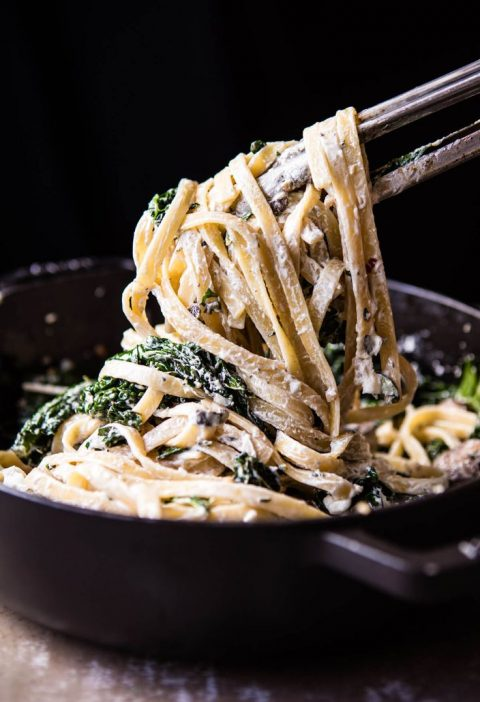 8 Ingredient Garlic Butter Mushroom and Goat Cheese Fettuccine