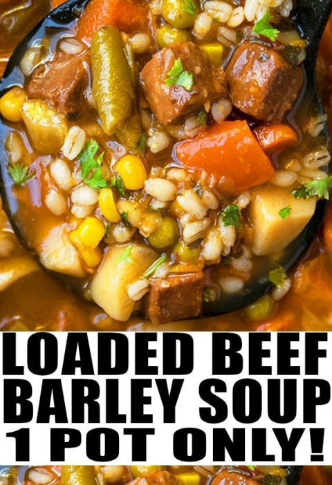 BEEF BARLEY SOUP RECIPE- Quick, easy, healthy, classic, old fashioned, hearty, b...