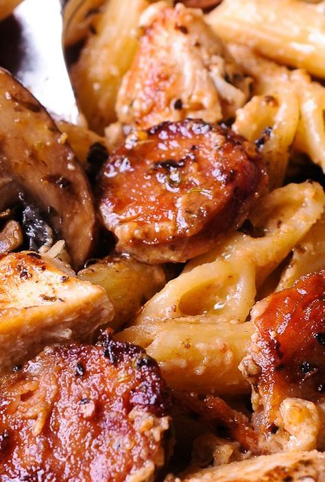 Cajun Chicken and Sausage Pasta in Creamy Parmesan Sauce is easy to make in only...