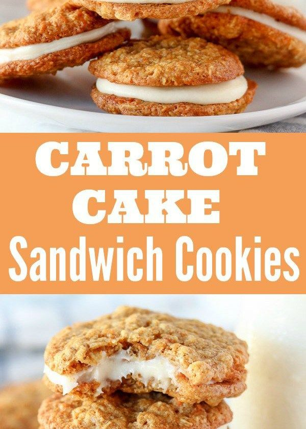 Carrot Cake Sandwich Cookies - Tender oatmeal cookies filled with cinnamon, grat...