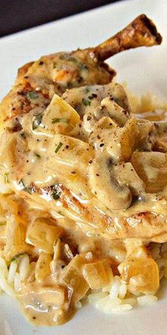 Chicken Fricassee - Chicken and Mushrooms in a Buttery Wine Herb Sauce