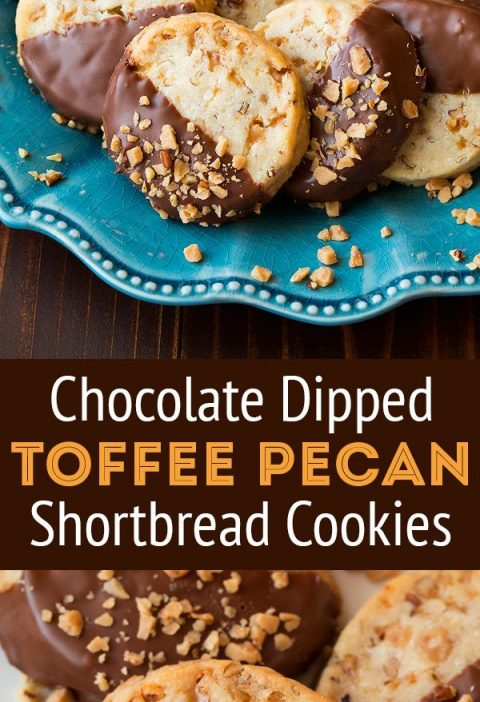 Chocolate Dipped Toffee Pecan Shortbread Cookies - A holiday must! Perfect blend...