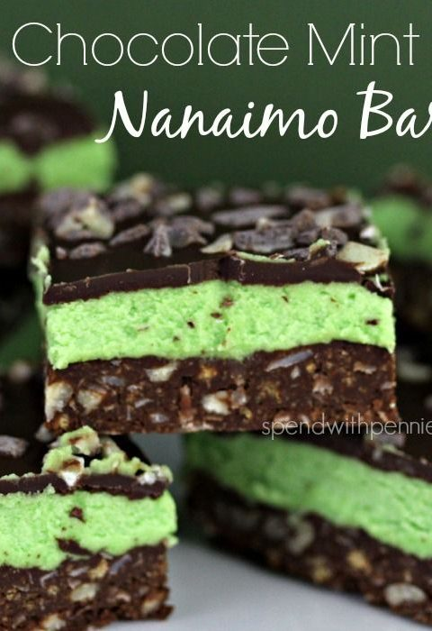Chocolate Mint Nanaimo Bars (No Bake)!  Easy and OH so delicious!  These freeze ...