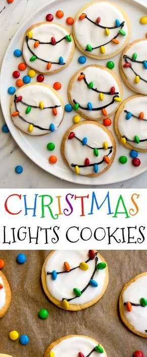 Christmas Lights Cookies for Santa! Easy royal icing recipe and mini M&Ms look l...