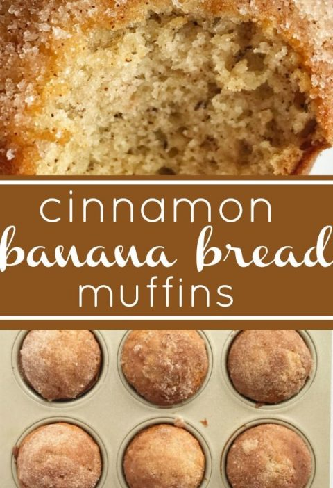 Cinnamon Banana Bread Muffins | The best banana muffin recipe is moist and toppe...
