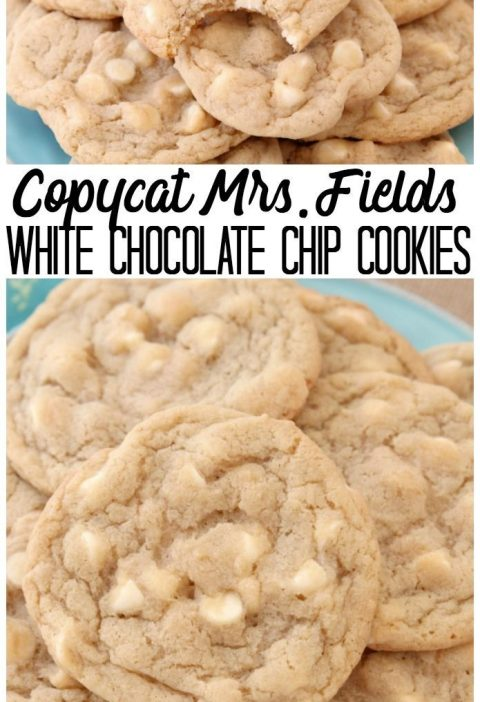 Copycat Mrs.Fields White Chocolate Chip Cookies are soft, delicious cookies fill...