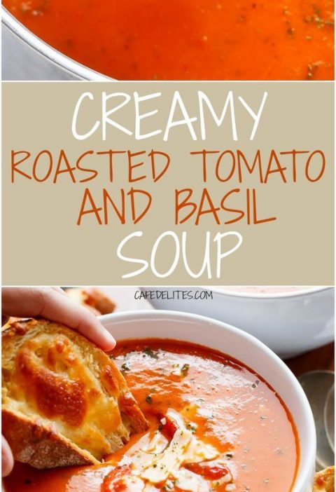 Creamy Roasted Tomato Basil Soup - Full of incredible flavours, naturally thicke...