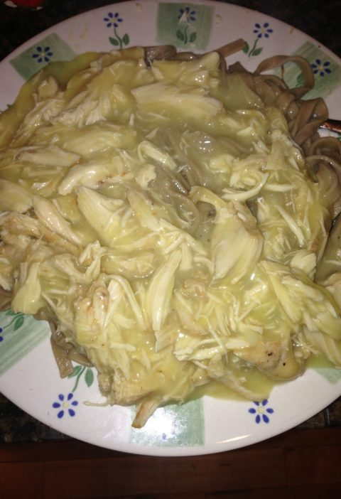 Crockpot Chicken Put a chicken rub on the chicken, sit for four hours, cook in a...