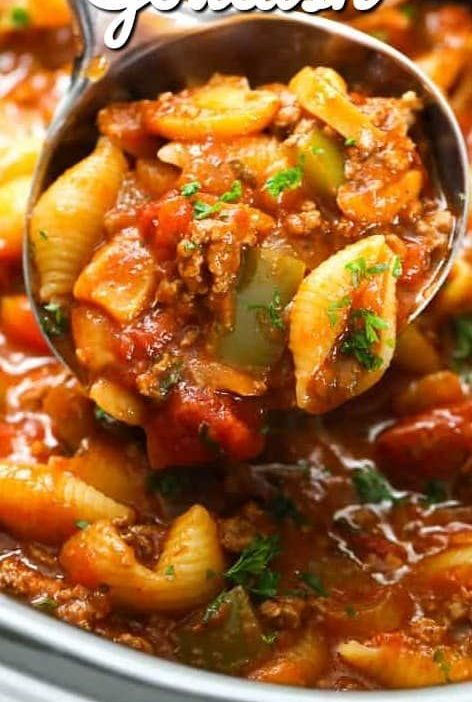 Crockpot Goulash is a flavorful zesty pasta dish.  Everyone loves this family me...