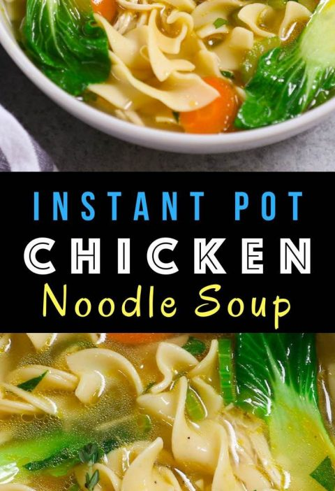 Delicious and comforting Instant Pot Chicken Noodle Soup - loaded with tender ch...