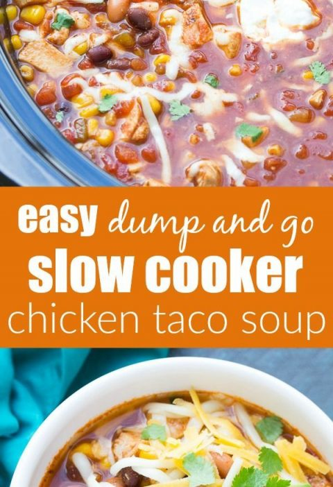 Dump and go (no chopping) easy slow cooker chicken taco soup recipe. A family fa...