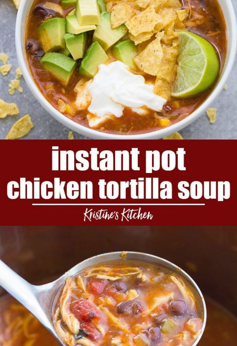 Easy Instant Pot Chicken Tortilla Soup. This healthy soup recipe is quick and ea...